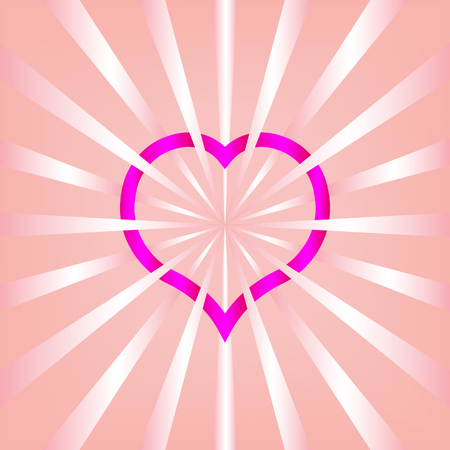 ribbon heart shape on pink background.