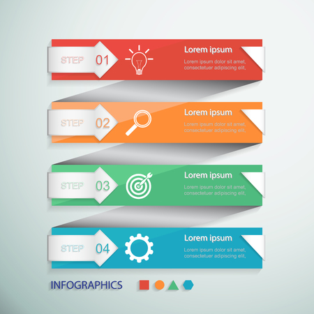 Infographic design banners set. Can be used for workflow layout, presentation, web design. 4 steps Ilustração