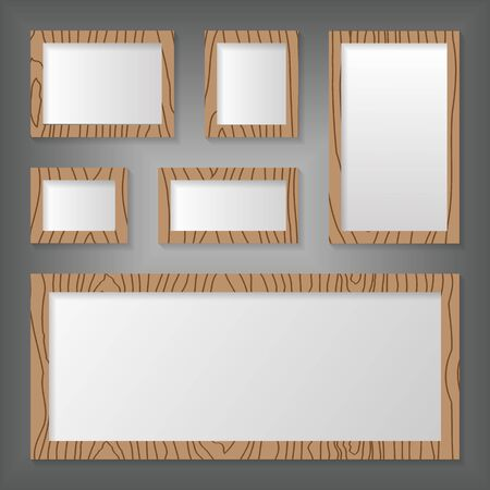 Wood frames set on wall. Иллюстрация