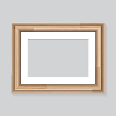 Wooden frame on wall gray.