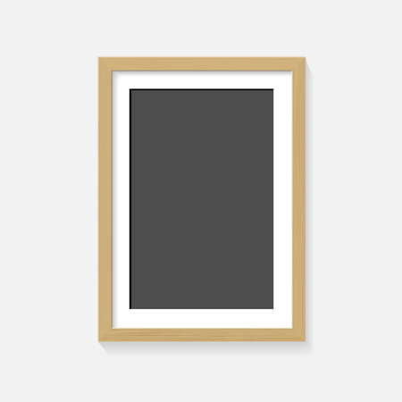 Wooden frame on wall gray layout.
