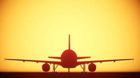 siloette: air plane silhouette light Stock Photo