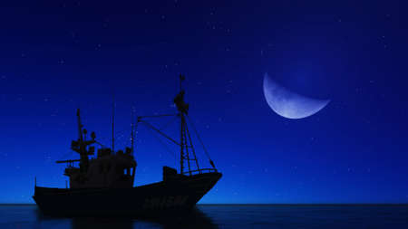 3d boat: 3D boat and moon Stock Photo