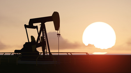 pumpjack: pumpjack and sunset Stock Photo