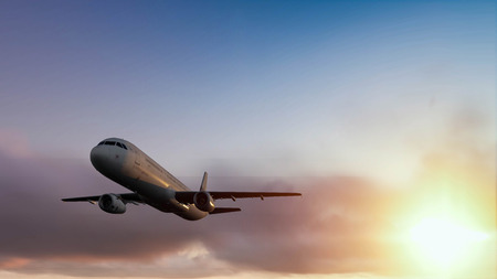 siloette: plane and sunset