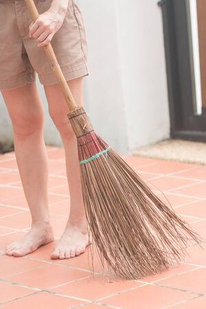 besom: clean house by broom background blur