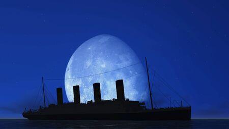titanic: titanic and moon