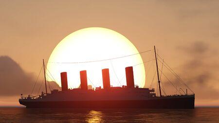 titanic: titanic and sunset
