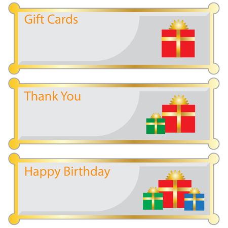happy birtday: gifts cards Illustration