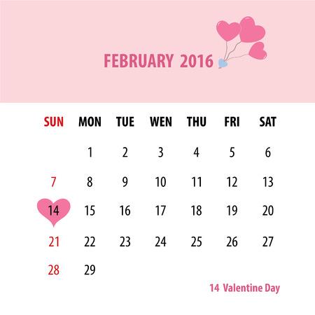 feb: february calendar Illustration