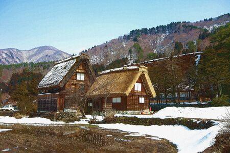 arquitecto caricatura: casa de campo en jap�n Foto de archivo