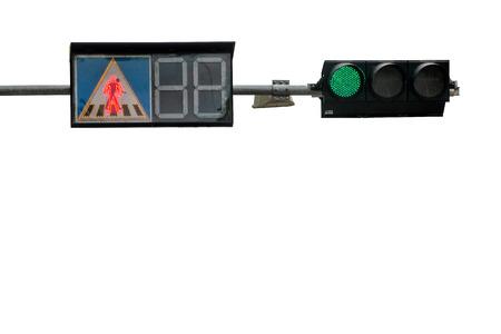 paso peatonal: Paso de peatones luces de tráfico en la carretera Foto de archivo