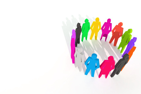 company merger: leader of team work ,people work group background isolated 3d rendering Stock Photo