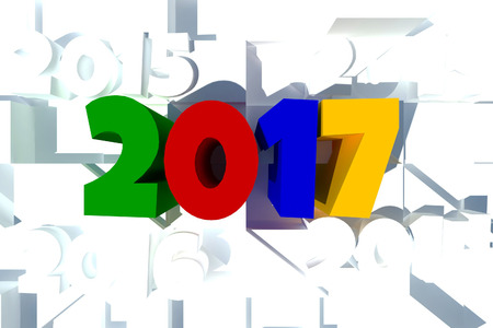 text 3d: happy new year 2017,text 3d rendering design abstract background