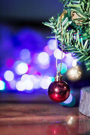 christmas tree and lighting boke backgroung Stock Photo