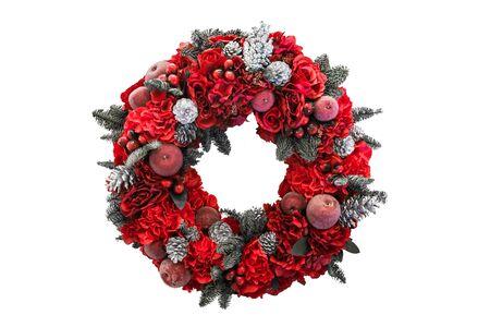 guirnaldas navideñas: Coronas de Navidad aislado fondo blanco Foto de archivo