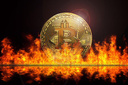 bitcoin money electronic with fire