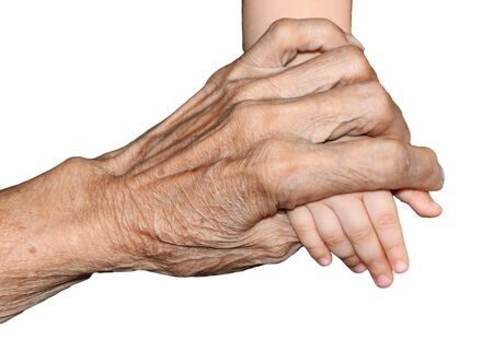 3 6 months: Grandmother hands holding baby hands