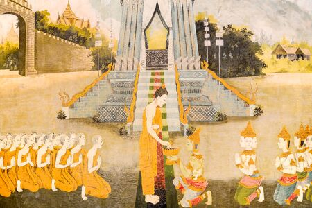 the mural: Thai mural painting on temple wall Stock Photo