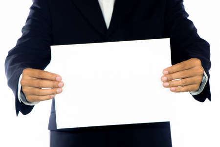 mexican ethnicity: Young businessman holds blank signs. Stock Photo