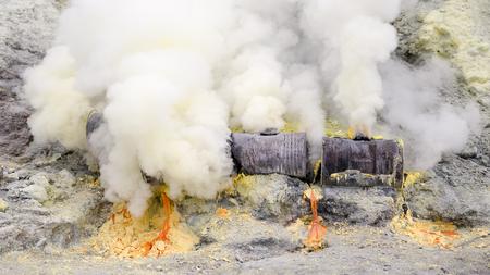 conduction: Melting Sulfur at Kawah Ijen Vocano, East Java, Indonesia