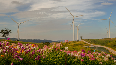 Wind Generator Turbines in beautiful Real Landscape