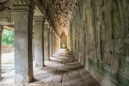 Alleyway in the tomb at temple of Angkor Cambodia