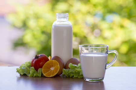Milk And Healthy Food.