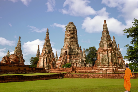 Landscape Ayutthaya Historical Park in Ayutthaya Фото со стока