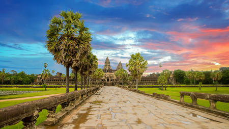 Angkor Wat is a temple complex in Cambodia and the largest religious monument in the world. Siem Reap, Cambodia. Artistic picture. Beauty world