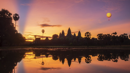 Angkor Wat is a temple complex in Cambodia and the largest religious monument in the world. Siem Reap, Cambodia. Artistic picture. Beauty world. Stock Photo