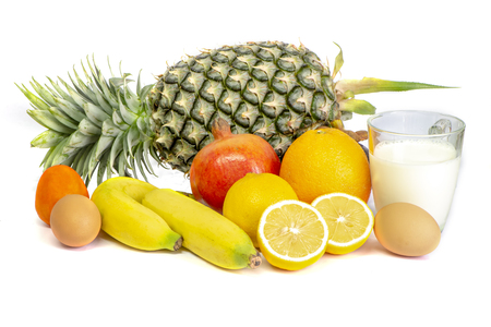 Fruits,egg and milk,Healthy eating.