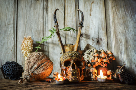 Human skull and candle with on wooden floor and old dirty wall background, and vase flower,and glass,and bottle of wine, still life concep Reklamní fotografie - 105997578