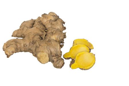 Fresh cassumunar ginger slided isolated on white background, ingredients in Thai Herbal Ball Massage