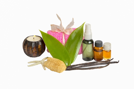 Spices, flowers and bottles with aromatherapy oil Stockfoto
