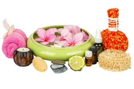 Thai Spa theme with ayurvedic therapist on shabby on white background Reklamní fotografie - 105997586