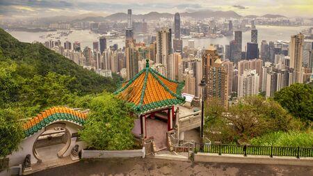 Lions Pavilion lookout point at Victoria Peak, Hong Kong Island, Hong Kong, China