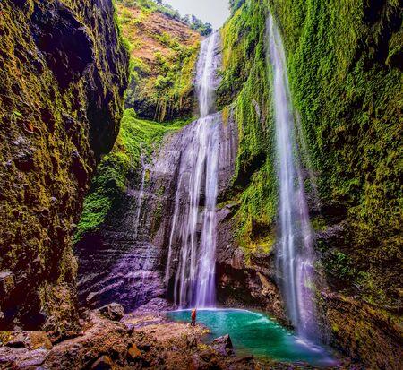 The Sekumpul waterfalls in jungles on Bali island, Indonesia