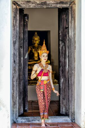 Thai beautiful woman in antique thai traditional national dress costume clothes,Thailand