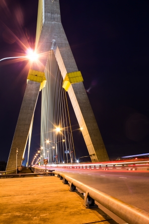 joa: The poles of Hanging Bridge in Bangkok at night