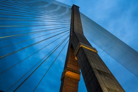 The poles of Hanging Bridge in Bangkok at night photo