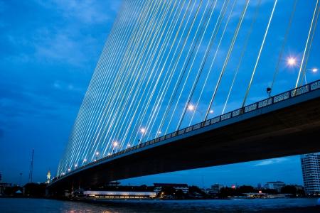 joa: Hanging Bridge in Bangkok at night