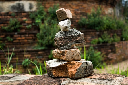 phra nakhon si ayutthaya: sort old red bricks isolated on Archaeological site background