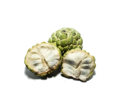 sweetsop: Custard apple fruit with white isolate background