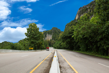 itinerary: road  to the far mountains  In the mountains here and there is nature Stock Photo