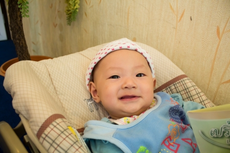 wean: Cute baby in Bassinet
