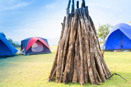 relent: camping tent on  mountain in a morning light Stock Photo