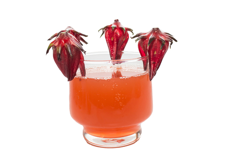eagerly: Roselle and Rozelle juice on a white background