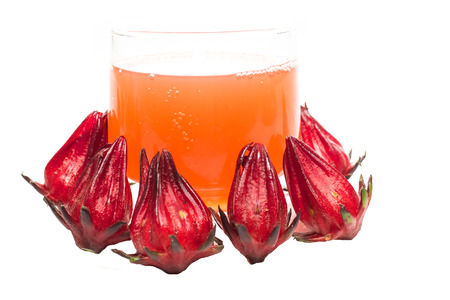 Roselle and Rozelle juice on a white background