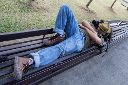 jardin de luxembourg: People slept on chairs in the park Stock Photo